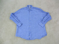 Peter Millar Button Up Shirt Adult Extra Large Blue Linen Long Sleeve Casual Men