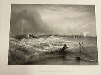 Joseph Turner STRANDED VESSEL OFF YARMOUTH 1880 Engraving Art Print Sea Storm