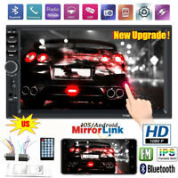 """7"""" Double 2DIN Car MP5 Player Bluetooth Touch Screen Stereo Radio TF USB AUX IN"""