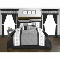 Chic Home Kaia 20 Piece Bed in a Bag Pinch Pleat Pintuck Black King