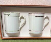 Hermes Mug Cup Rythme Red Green Tableware 2 set Porcelain Ornament New Unused
