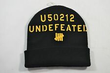 Undefeated DOUBLE STRIKE FOLD Black Mustard Yellow Knit Cap Hat Men's Beanie