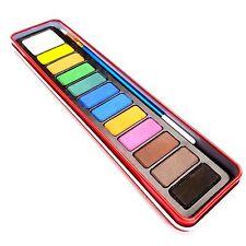 Water Colour Paints & Brush Set 12 Colors Kids Art Craft Artist Metal Tin Case