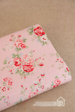 Cotton Canvas Fabric Homeware Craft Medium Floral Pink Vintage Shabby Chic