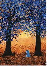 SCHNAUZER Dog Outsider Modern Folk Art PRINT Todd Young painting BLUE TREES