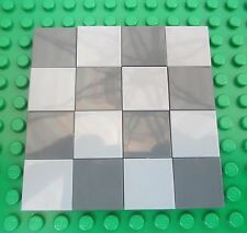 Lego Light & Dark Grey Floor Tiles boards city town smooth concrete cement 2x2