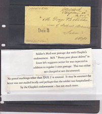 CSA Soldiers Stampless Cover Postage Due 3 Chaplin Endorsement Penny Post Delive