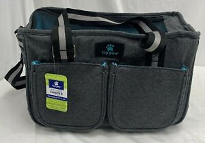 Top Paw Soft Sided Dog Pet Carrier Gray Aqua Up To 15 LBS New With Tags