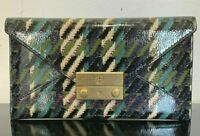 New Tory Burch Juliette Tweed Patent Envelope Pouch Wallet Green Dogstooth $198