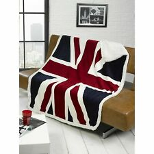 Bedding Heaven UNION JACK SHERPA THROW  red White and Blue. 130 x 160 cm