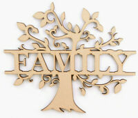 Wooden MDF Family Tree with Family Our Family Blank Shape Memory Box monogram
