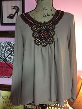 NEW - Boutique Style Top with Beautiful Beadwork - Size LARGE