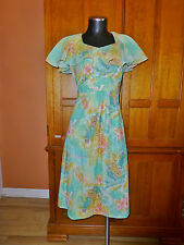 Vtg 70s Gauze Raffle Tucan Tropical Print Jersey Boho Hippie Party Flared DRESS