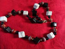 Kette Onyx Howlith Jaspis Stein Halskette Collier Kugeln Perle Würfel Steinkette