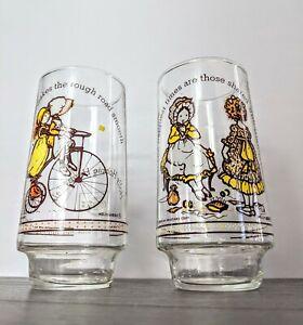 VINTAGE SET OF 2 HOLLY HOBBIE HAPPY TALK LIMITED EDITION COCA COLA GLASSES
