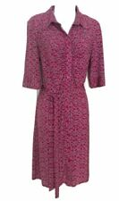 Laundry Women's Pink/Black/White Collared Button Front Tie Waist Sheath Dress 10