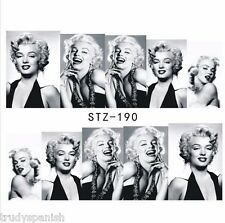 Full Wrap Water Nail Art Stickers Decals Black White Marilyn Monroe (STZ190)