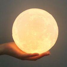 10cm Rechargeable Moon Lamp Night Light Led Color Change 3D Dimmable Touch F