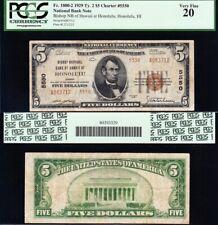 NICE *RARE* Bold Mid-Grade VF 1929 $5 HONOLULU, HI Type 2 National Note! PCGS 20