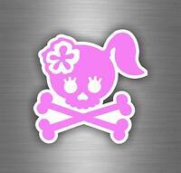 Sticker car motorcycle helmet decal vinyl chopper biker skull lady pink