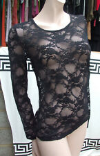 Divine Black Lace Stretch Top Sheer Lacy Stretchy Long Sleeve Top Size S
