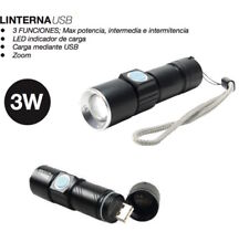 Linterna recargable USB, 3W, Zoom, LED de carga