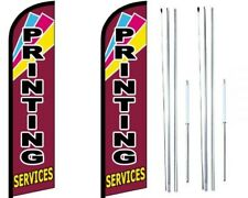 Printing Services Windless Flag with Hybrid Pole set - Pack of 2