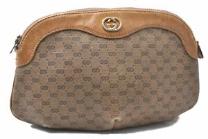 Authentic GUCCI Micro GG PVC Leather Pouch Brown D8473