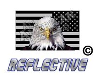 """1- 3"""" Subdued Tactical American Flag Decal with EAGLE Reflective Sticker Reverse"""
