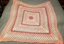 Handmade Crocheted Baby Afghan Throw Blanket Pinks & White Granny Square