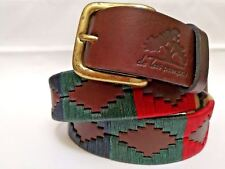 """Palermo"" 100% Argentine Embroidered Leather Polo Belt with Waxed Threads -Brown"