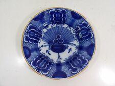 Assiette ancienne faience decor au paon signée MQ , DELFT blanc bleu  XVIIIe 18e