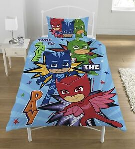 Single Bed Duvet Cover Set PJ Masks Save The Day Reversible Character Bedding