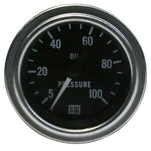 Stewart Warner 82323 Deluxe 2-1/16 Mech Oil Press Gauge, 5-100 PSI