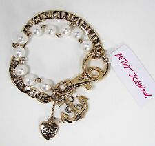 BETSEY JOHNSON Anchors Away Anchor Charm Faux Pearl Gold Tone Chain Bracelet