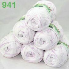 6BallsX50g Super new Worsted Natural Bamboo Cotton Knitting Yarn White Violet