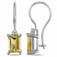 4 Ct Cushion Yellow Citrine Earring Drop Women Jewelry 14K White Gold Plated
