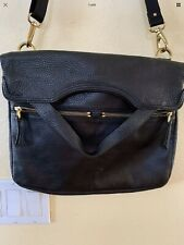 FOSSIL ERIN Foldover Black Soft Pebbled Leather Purse Handbag Tote Crossbody