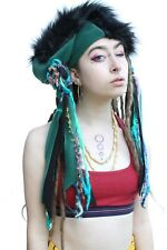 Green Fleece Black Faux Fur Gothic Pirate Psytrance Indie Beanie Slouch Hat