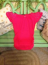 Women's small short sleeve red blouse with embellishments