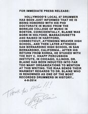 HAL BLAINE autographed 8x11 press release    ROCK+ROLL HOF WRECKING CREW DRUMMER