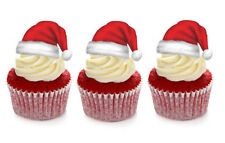 12 STAND UP CHRISTMAS SANTA HAT EDIBLE WAFER CUPCAKE CUP CAKE TOPPERS IMAGES