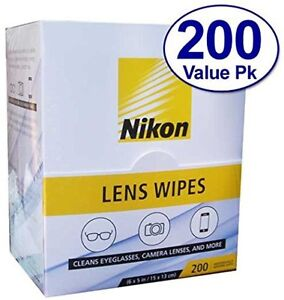 Nikon Pre-Moistened Lens Cloths Wipes 200 Ct, Glasses Camera Phone Cleaning, New
