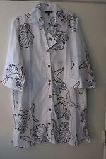Club Z 3X Women's White Beach Swimsuit Coverup 3/4 Sleeve Tunic Shirt Starfish