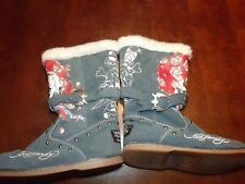 Ed Hardy Blue Suede Colorful Flower Skull Art Ed Hardy Boots Size 8