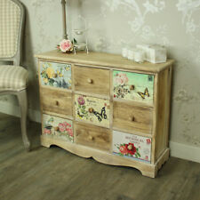 Floral 9 drawer chest of drawers shabby vintage chic bedroom furniture storage