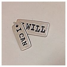 I Can I Will Dual Charm/Pendant Silver Message Of Strength Jewelry NEW