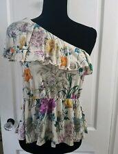 Womens Hm One Shoulder Flower Print Blouse Summer Shirt small