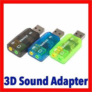 USB 2.0 to 3D Audio Sound Card External Adapter Virtual 5.1 CH Mic + Headphone