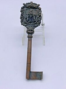 Large Victorian Family Crest Top Brass Skeleton Key  8 1/4""